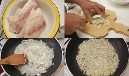 Разморозим рыбу и обжарим лук