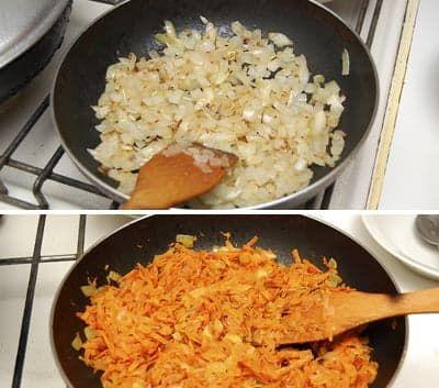 Обжариваю лук и морковку