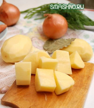 Крупные куски картофеля