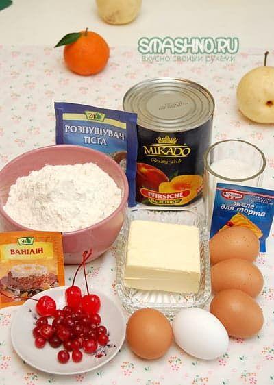 Пирог с персиками фото