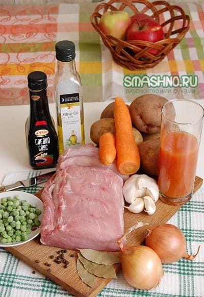 Свинина, овощи, томатный сок, приправы, соевый соус, оливковое масло, чеснок