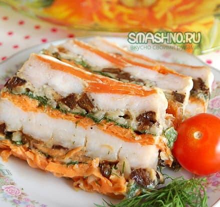 Рыбный торт с овощами
