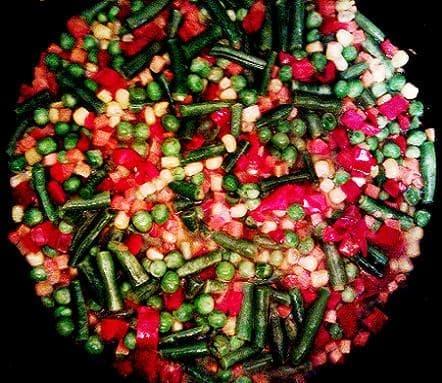 Мелко нарезанные овощи в сковородке