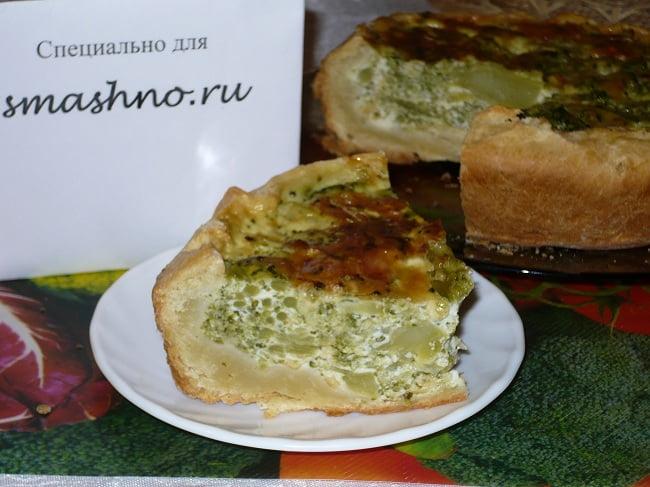 Готовый пирог с брокколи