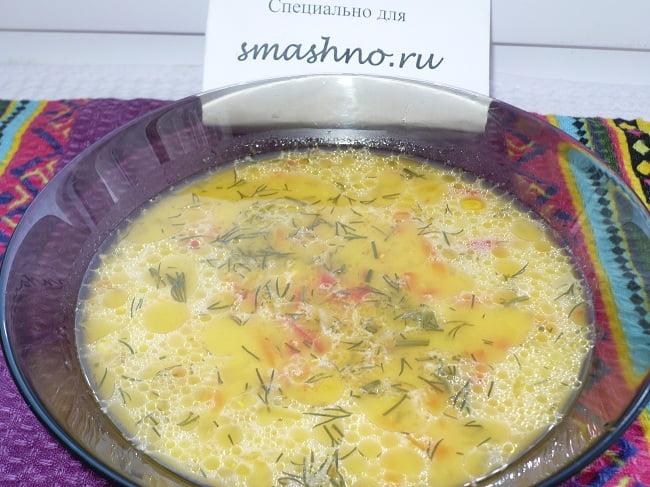 Суп с кукурузой и плавленным сыром