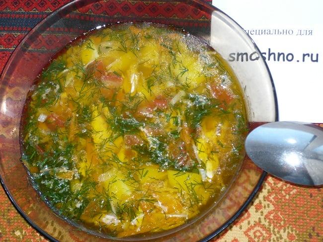 Суп с обжаренной вермишелью
