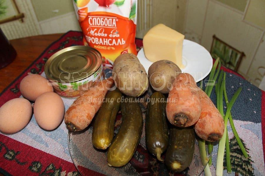 салат из печени трески с огурцами рецепт с фото