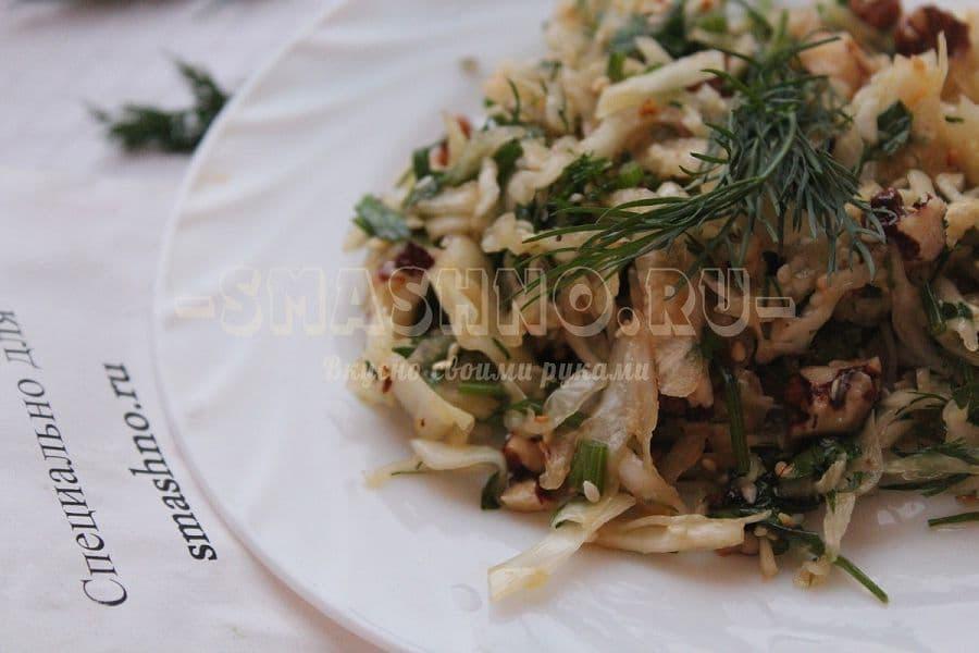 Салат из белокочанной капусты с дайконом