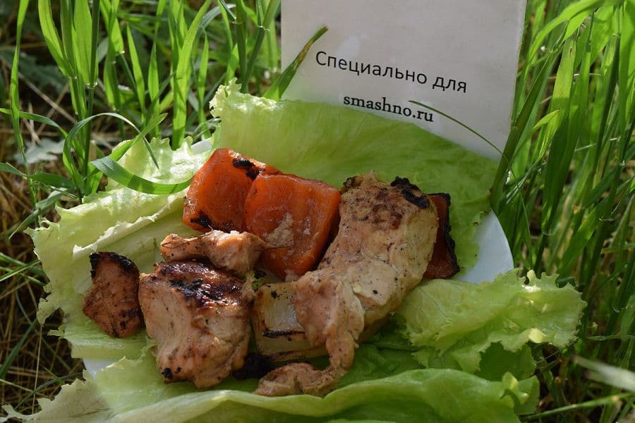 Шашлык из куриной грудки с овощами