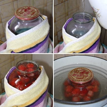 Процесс приготовления клубничного компота