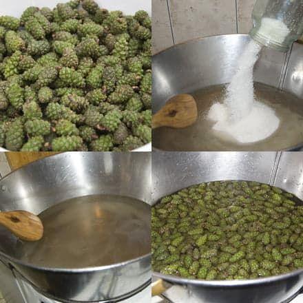 Процесс приготовления варенья из шишек