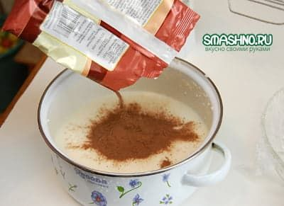 Во вторую половину добавляю какао