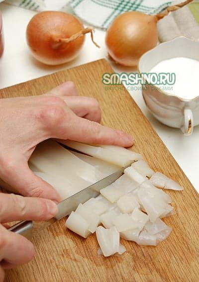 Рецепт кальмаров с грибами