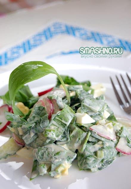 Салат с черемшой и сметаной