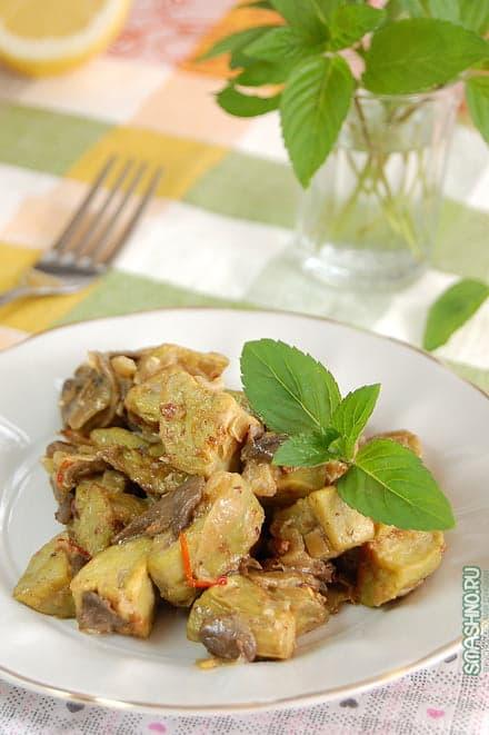 Вкусные баклажаны с грибами и луком