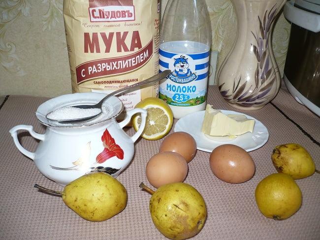 Мука, молоко, сахар, лимон, масло сливочное, груши, яйца