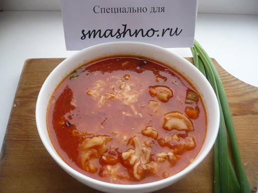Готовый суп с макаронами