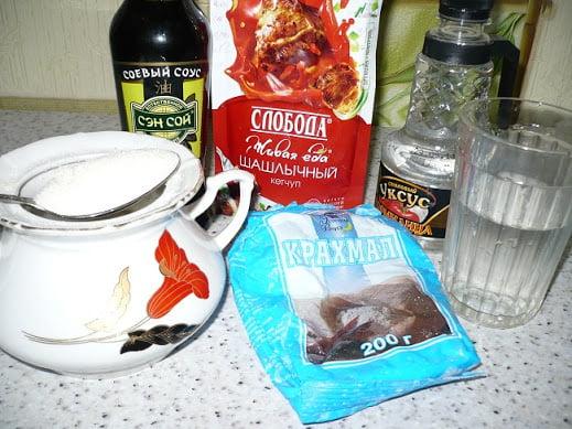 Ингредиенты необходимые для приготовления соуса