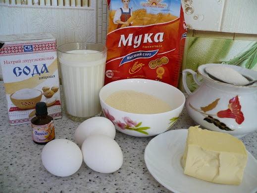Ингредиенты, необходимые для приготовления манника