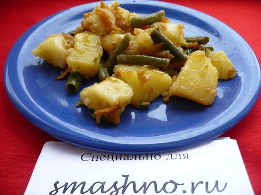 Готовое жаркое из картофеля и стручковой фасоли