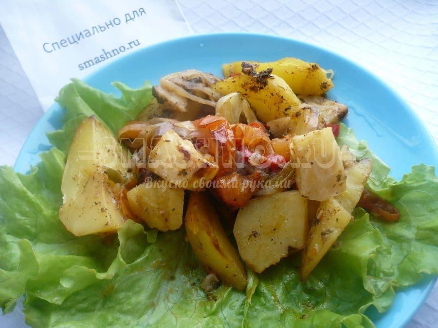 Корень сельдерея, запечённый с овощами