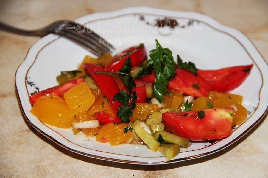 Салат с тыквой и помидорами