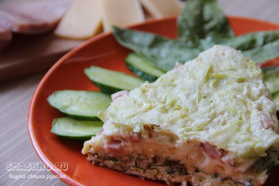 Заливной пирог с кабачком и шпинатом