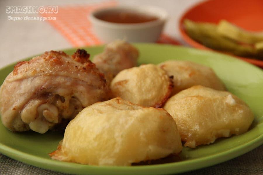 Запеченные куриные голени с картофелем в духовке