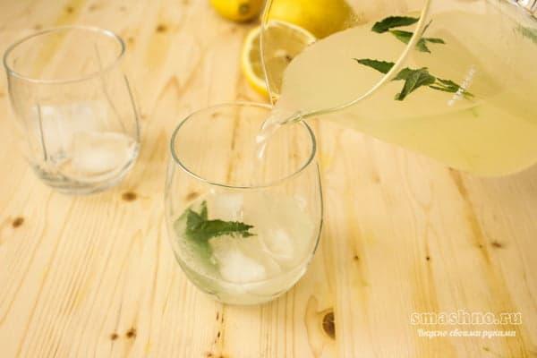 Кубики льда, листики мяты, лимонад