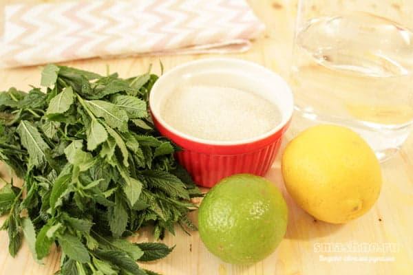 Лимон, лайм, сахар, мята