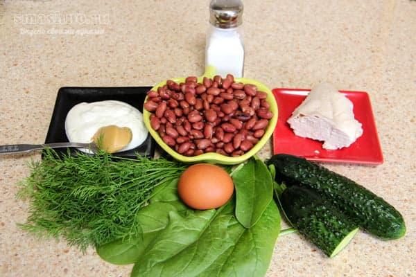 Фасоль, курица, овощи, яйца, горчица, сметана, соль