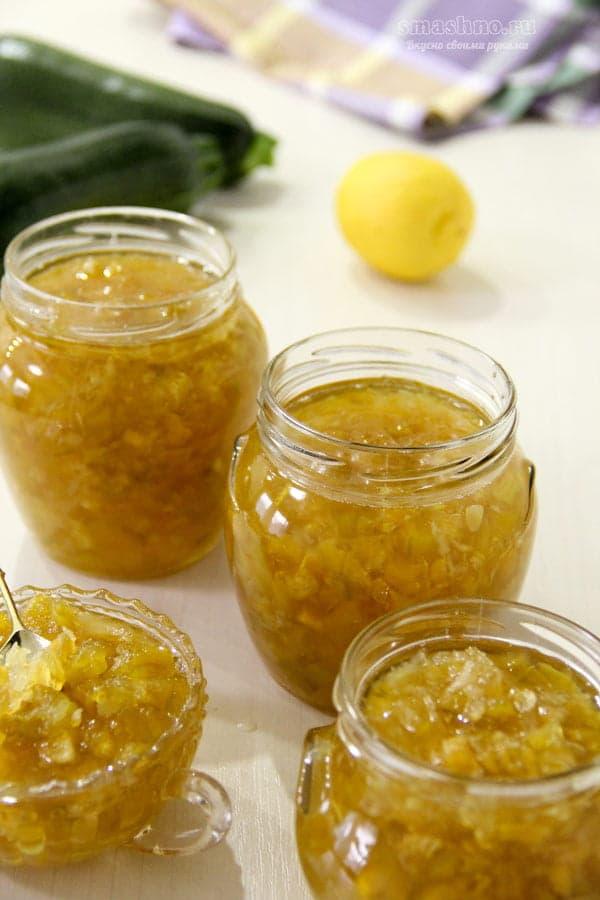 Готовое варенье из кабачков с лимоном